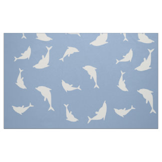 Bottle-Nose Dolphins On Blue. Fabric