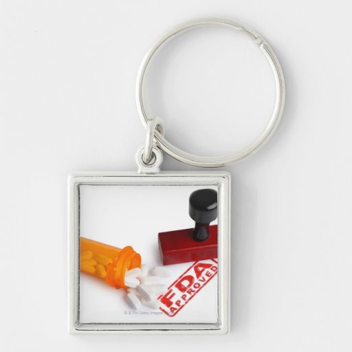 Bottle of Pills and a FDA APPROVED rubber stamp Key Chains