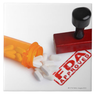 Bottle of Pills and a FDA APPROVED rubber stamp Large Square Tile