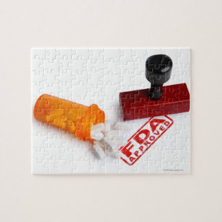Bottle of Pills and a FDA APPROVED rubber stamp Jigsaw Puzzles