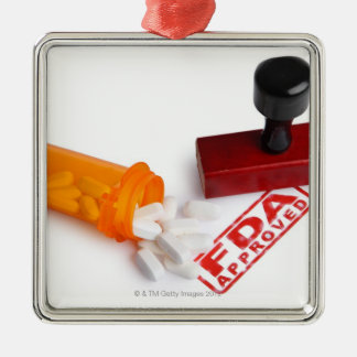 Bottle of Pills and a FDA APPROVED rubber stamp Silver-Colored Square Decoration