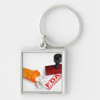 Bottle of Pills and a FDA APPROVED rubber stamp Silver-Colored Square Key Ring