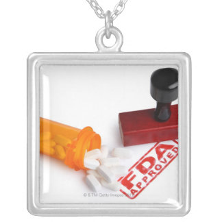 Bottle of Pills and a FDA APPROVED rubber stamp Silver Plated Necklace