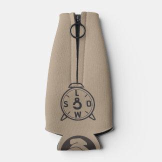 Bottle with CorleyQ logos in black. Bottle Cooler