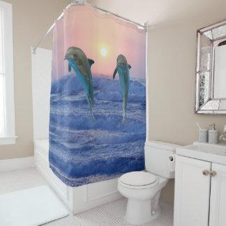 Bottlenose Dolphin at Sunrise Shower Curtain