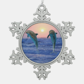 Bottlenose Dolphin at Sunrise Snowflake Pewter Christmas Ornament