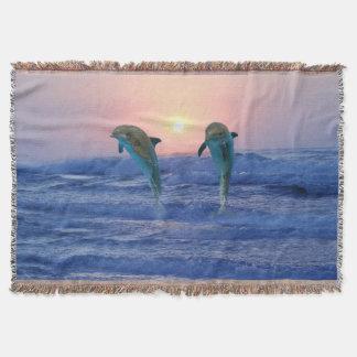 Bottlenose Dolphin at Sunrise Throw Blanket