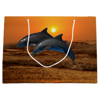 Bottlenose Dolphin at Sunset Large Gift Bag