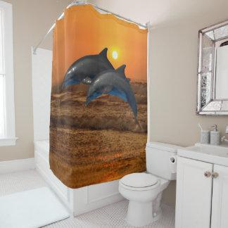 Bottlenose Dolphin at Sunset Shower Curtain