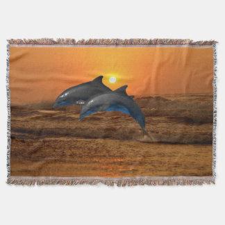 Bottlenose Dolphin at Sunset Throw Blanket