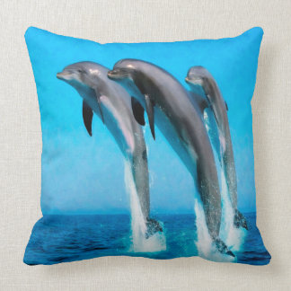 "Bottlenose Dolphins Nautical Throw Pillow 20""x20"""