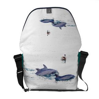 Bottlenose Dolphins Wildlife Animals Ocean Courier Bag
