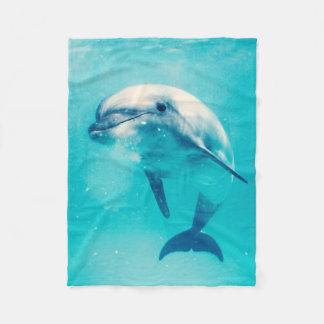 Bottlenosed Dolphin Underwater Fleece Blanket