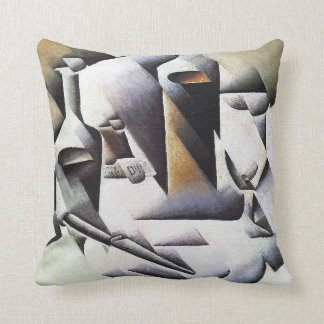 Bottles and Knife, by Juan Gris Cushion
