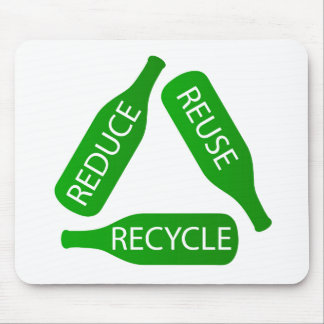 Bottles forming the recycle icon mouse pad