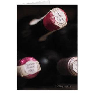 Bottles of wine, close-up, Sweden. Card