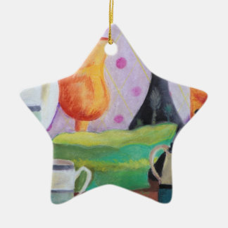 Bottlescape II - Abstract Alice Tea Party Ceramic Star Decoration