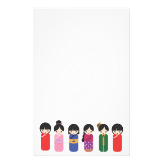Bottom Border Six Asian Dolls On White Stationery