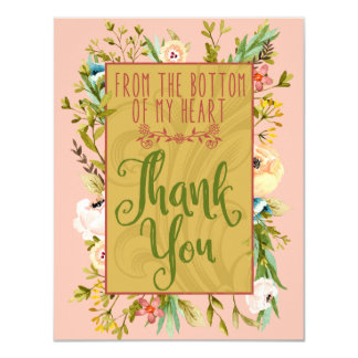 Bottom of My Heart Floral Thank You Card