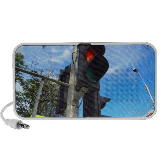 Bottom view on traffic light and road sign closeup notebook speaker