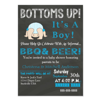 Bottoms Up BBQ Baby Shower Invitation (Blue)