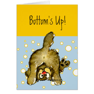 Bottom's Up Cartoon Cat Card