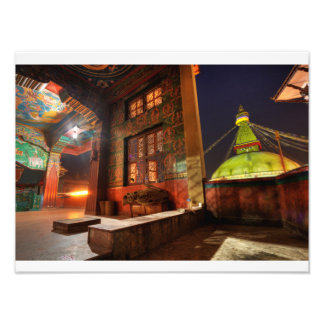 Boudhanath stupa at night photo print