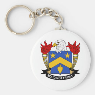 Boudinot Family Crest Basic Round Button Key Ring