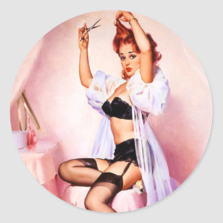 Boudoir Pin Up Classic Round Sticker