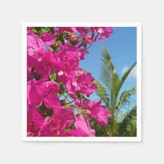 Bougainvillea and Palm Tree Tropical Nature Scene Paper Napkin