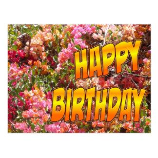 Bougainvillea Birthday Postcard Orange