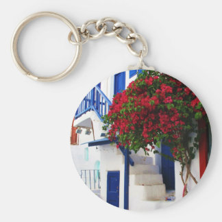 Bougainvillea growing outside a house, Mykonos Basic Round Button Key Ring