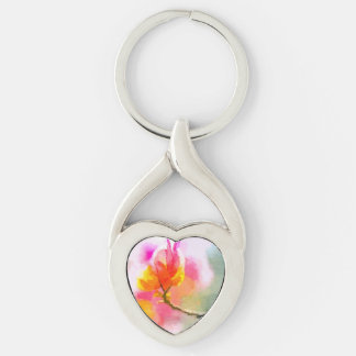 Bougainvillea Silver-Colored Twisted Heart Key Ring