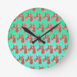 Bougainvillea Unicorn Round Clock