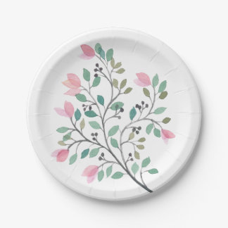 Bougainvillea Watercolor Paper Plates