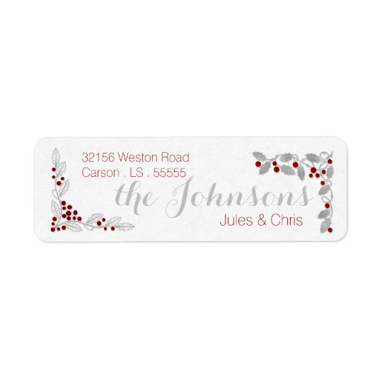 Boughs of Holly in Silver and Red with Soft White Return Address Label