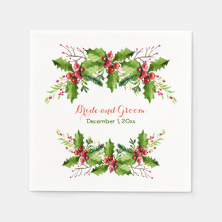 Boughs of Holly Wedding Paper Napkins Disposable Serviette