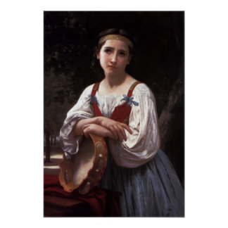 Bouguereau-Gypsy Girl with a Basque Drum Poster