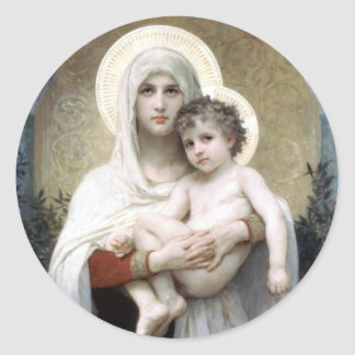 Bouguereau Madona with roses Christianity religion Classic Round Sticker
