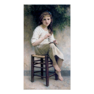 Bouguereau - Petite Fille Assise Brodant Poster