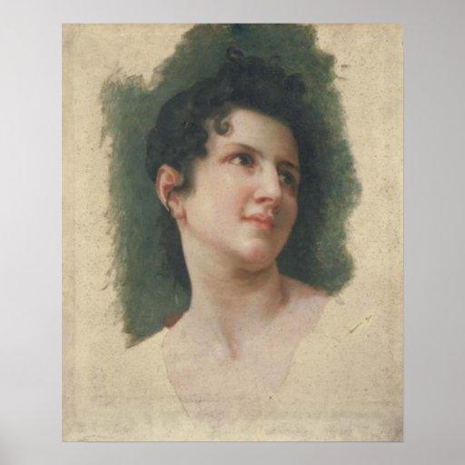 Bouguereau - Tête de Femme Brune, de Trois-Quarts Posters