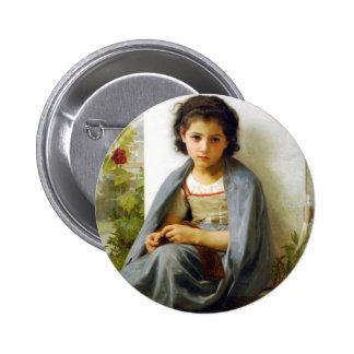 Bouguereau The Little Knitter Button