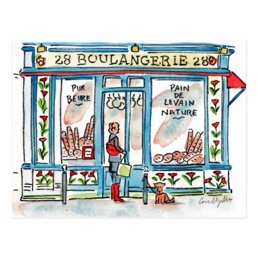 BOULANGERIE 28 Paris watercolor Postcard