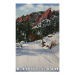 Boulder, Colorado - Flatirons in Winter Posters