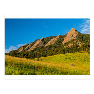 Boulder Colorado Flatirons Sunrise Golden Light Postcard