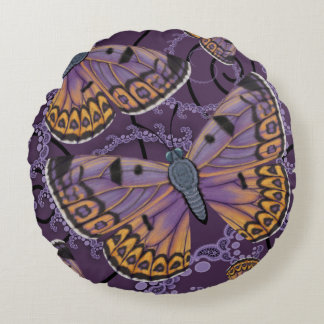 Boulder Copper Butterfly Reversible Round Cushion