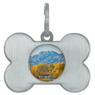 Boulder County Colorado Flatirons Autumn View.jpg Pet ID Tag