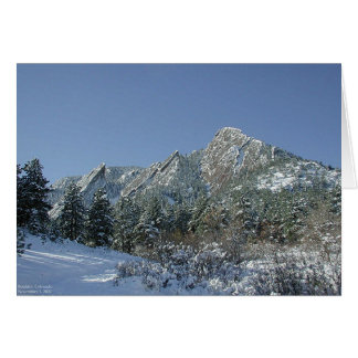 Boulder Flatirons in Snow Card