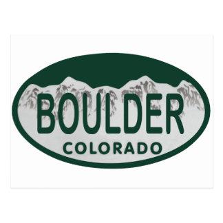 Boulder license oval postcard