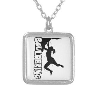 Bouldering_print women silver plated necklace